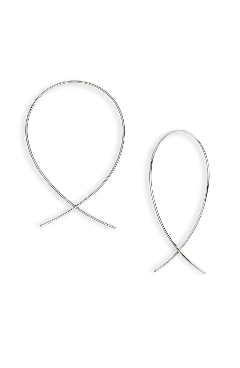 LANA JEWELRY Upside Down Small Hoop Earrings, Main, color, WHITE GOLD