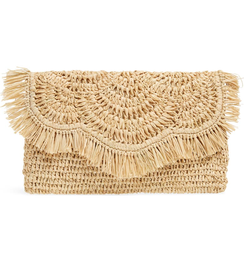 NORDSTROM Woven Raffia Clutch, Main, color, 235