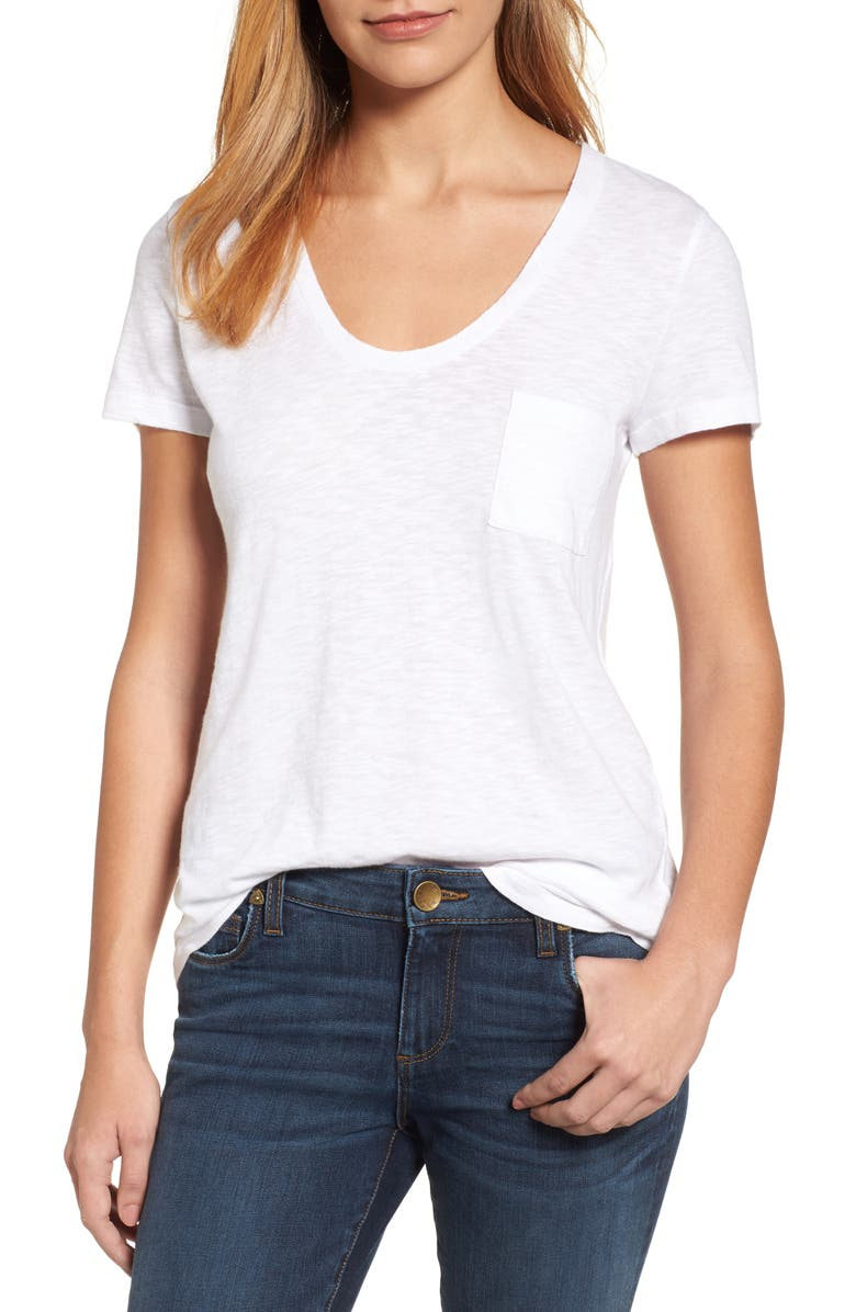CASLON<SUP>®</SUP> Rounded V-Neck T-Shirt, Main, color, WHITE