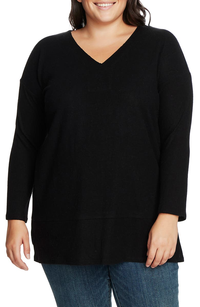 VINCE CAMUTO Ribbed Sleeve V-Neck Tunic Sweater, Main, color, 001