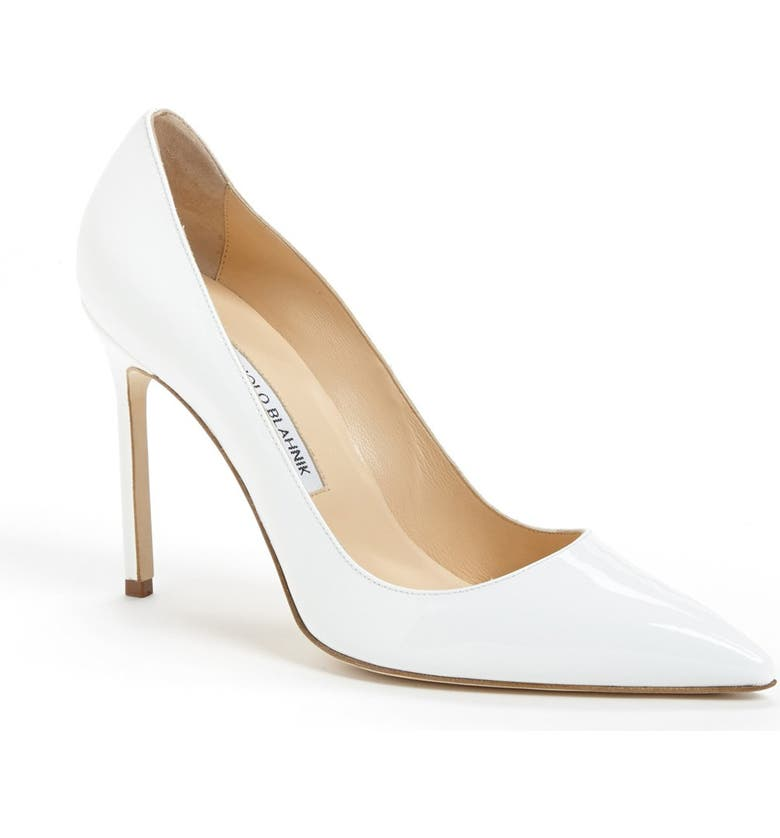 MANOLO BLAHNIK BB Pointed Toe Pump, Main, color, WHITE