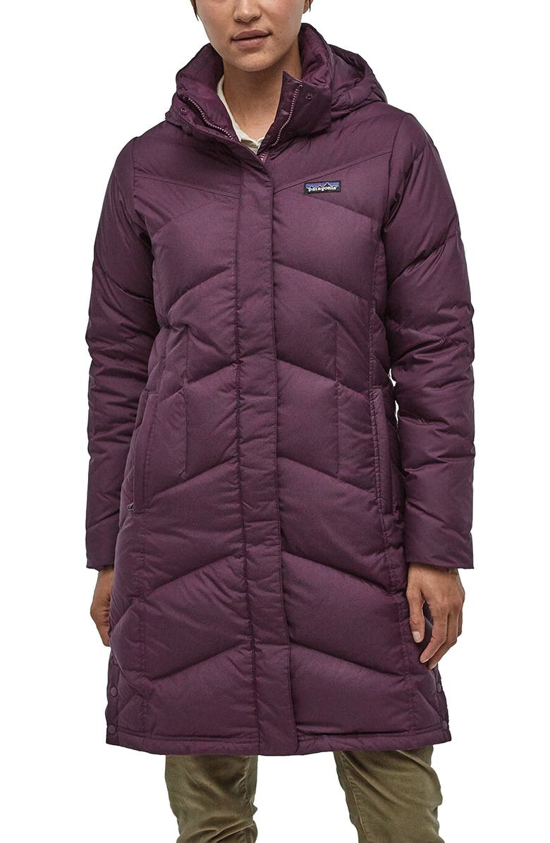 PATAGONIA Down With It Hooded Down Parka, Main, color, DEEP PLUM