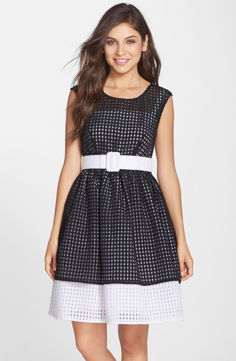 CHETTA B Belted Colorblock Fit & Flare Dress, Main, color, 015