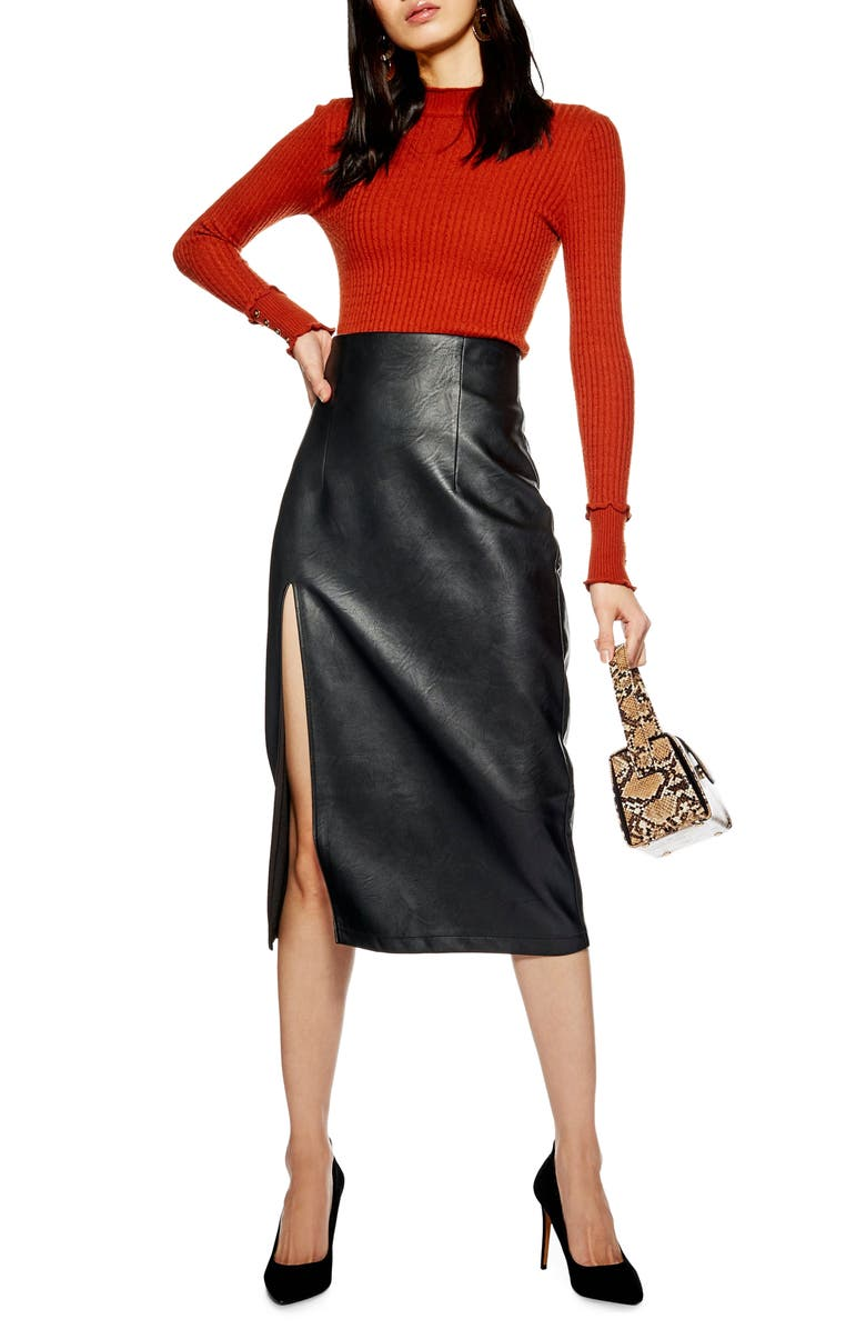 TOPSHOP Faux Leather Pencil Skirt, Main, color, 001