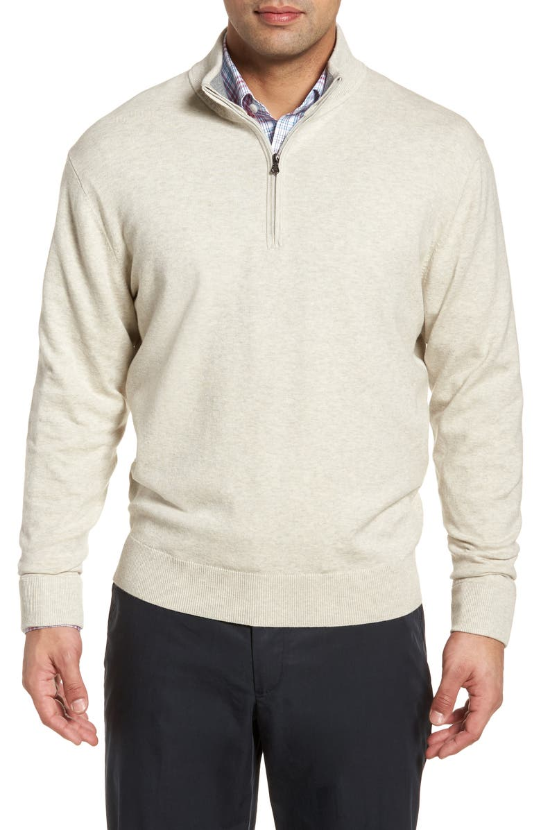 CUTTER & BUCK Lakemont Classic Fit Quarter Zip Sweater, Main, color, OATMEAL HEATHER