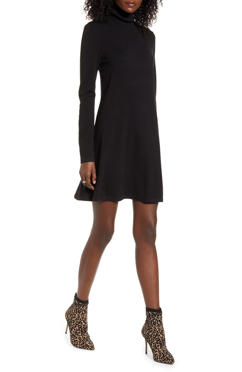 VERO MODA Happy Roll Neck Long Sleeve A-Line Sweater Dress, Main, color, 001