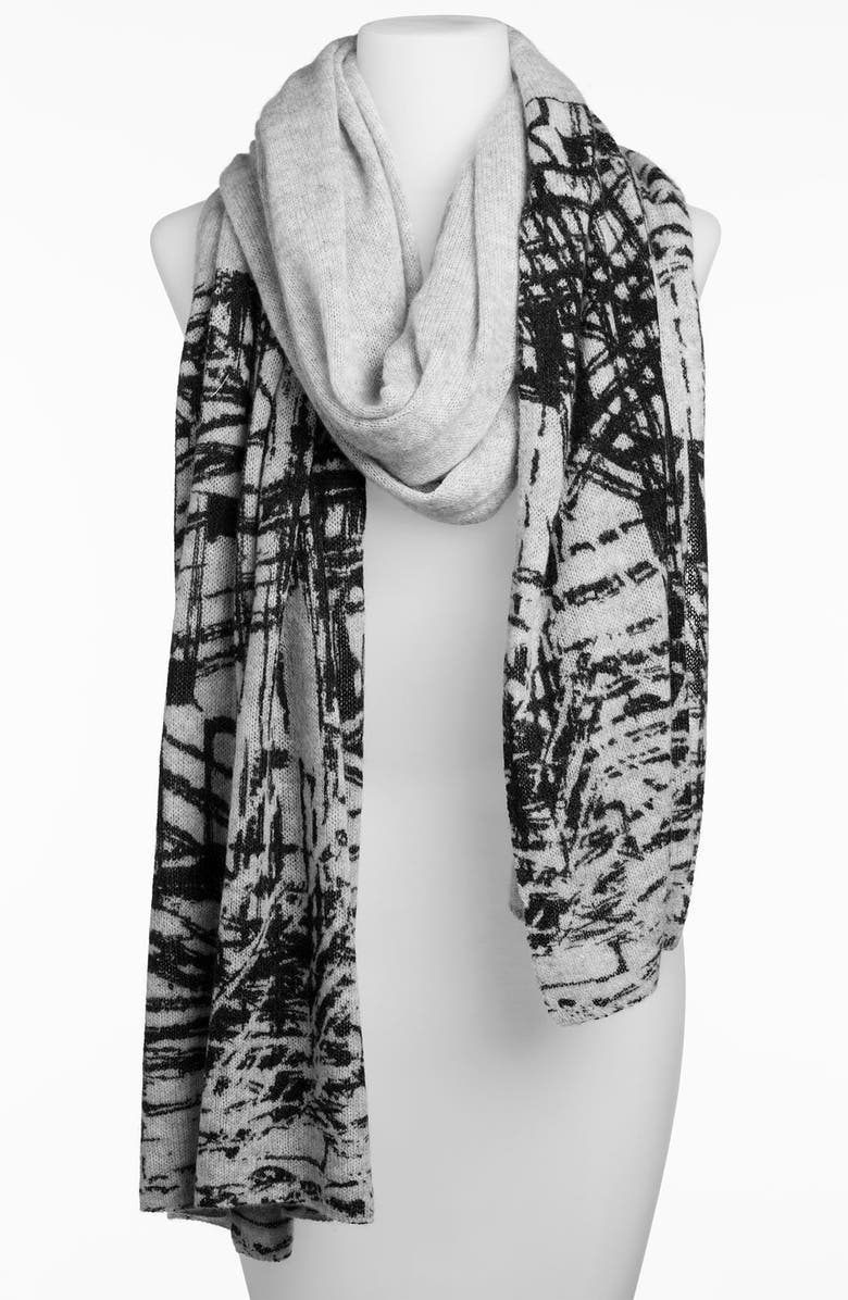 HALOGEN<SUP>®</SUP> Printed Wool & Cashmere Wrap, Main, color, Grey