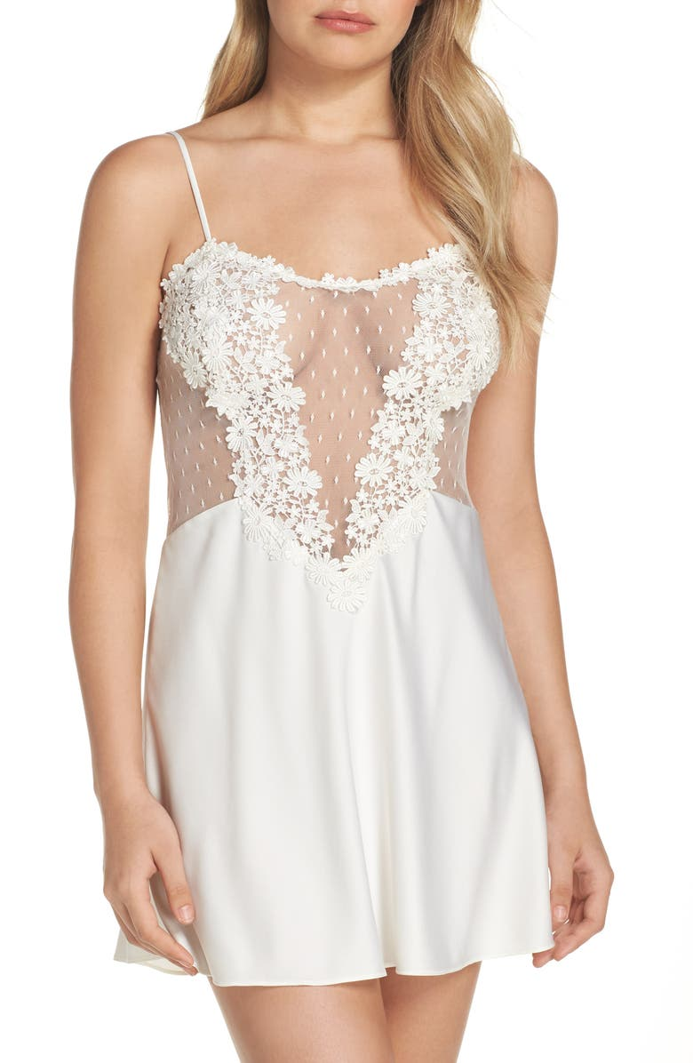 FLORA NIKROOZ Showstopper Chemise, Main, color, IVORY