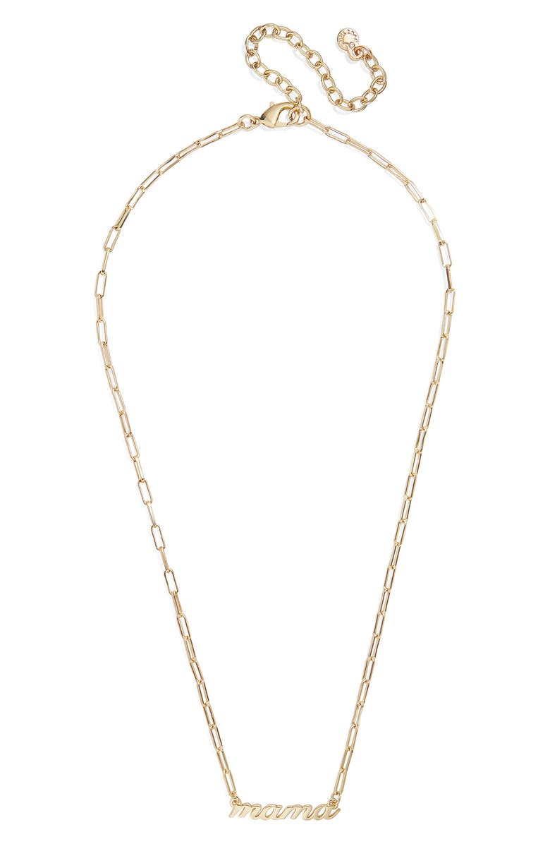 BAUBLEBAR Mama Nameplate Pendant Necklace, Main, color, GOLD