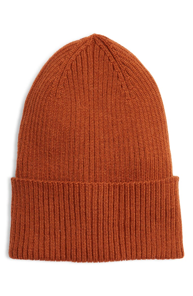 TREASURE & BOND Micro Cuff Beanie, Main, color, RUST
