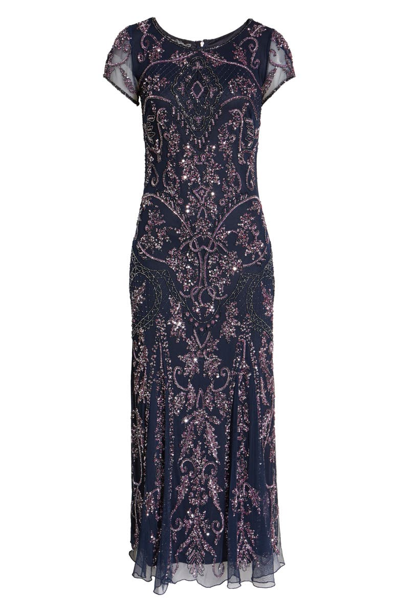 PISARRO NIGHTS Embellished Mesh Gown, Main, color, 002