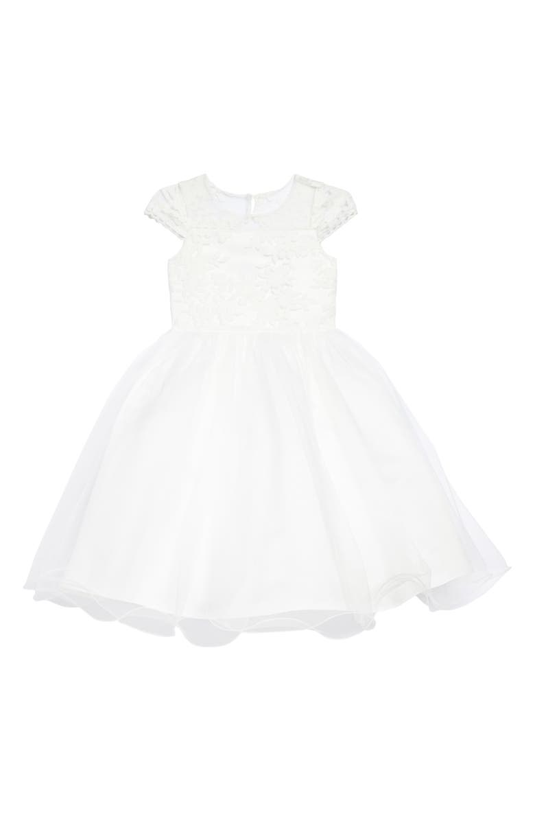 US ANGELS The Tina Floral Lace Tulle Dress, Main, color, IVORY