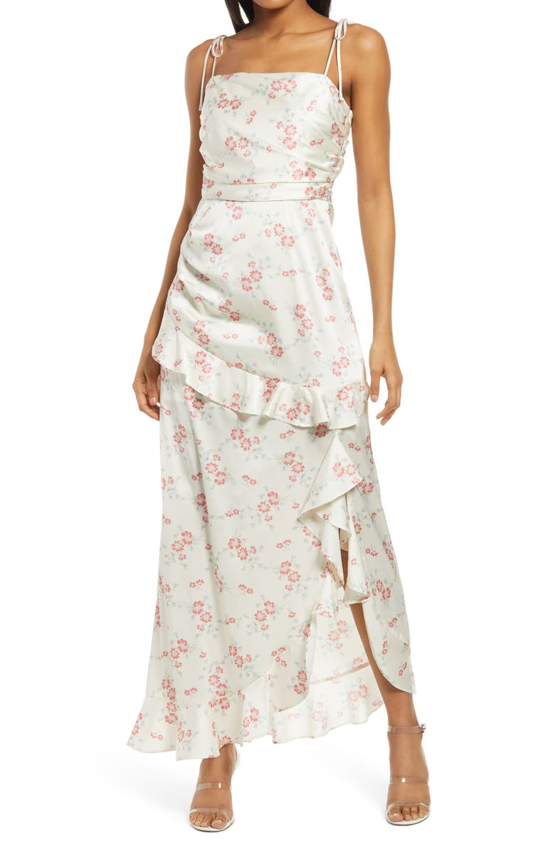 WAYF Floral Tie Strap Satin Maxi Dress, Main, color, IVORY WHISPER FLORAL