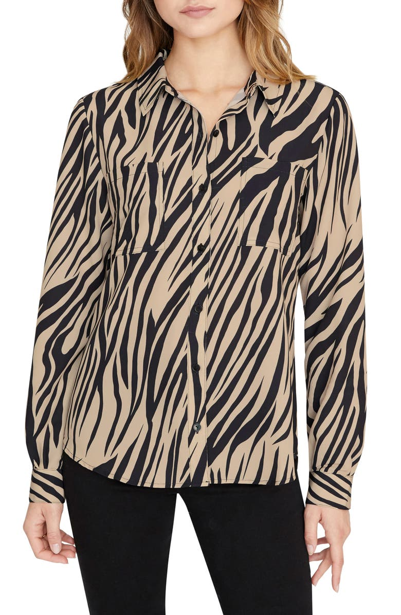 SANCTUARY Monday to Sunday Animal Print Button-Up Shirt, Main, color, 001