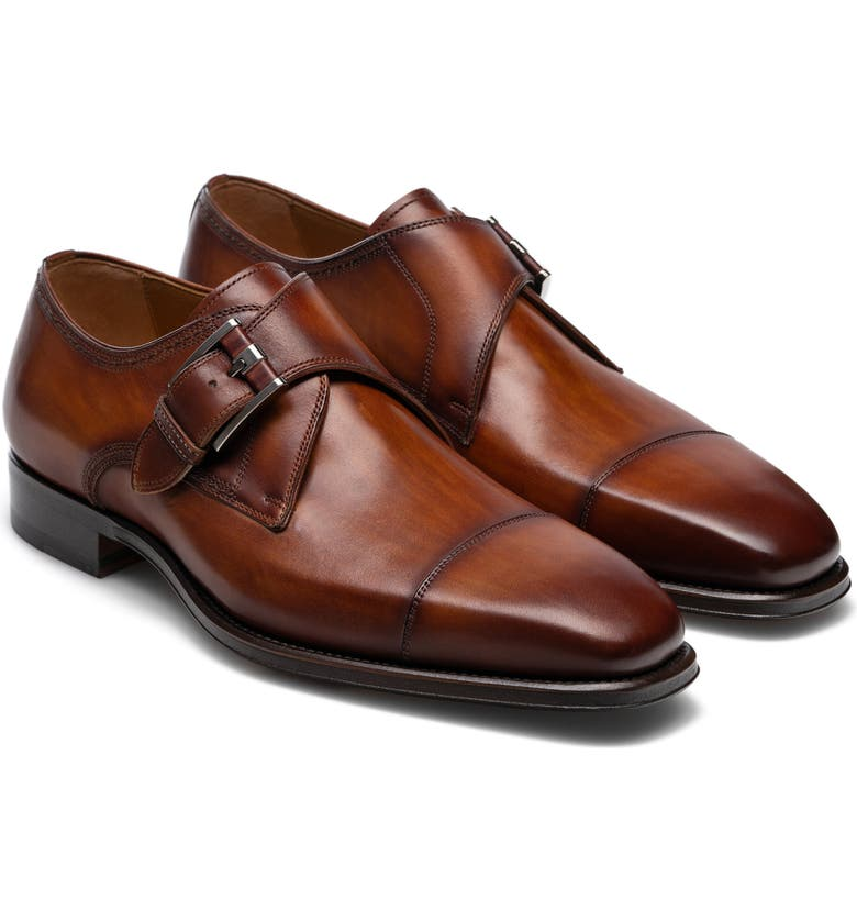 MAGNANNI Lennon Monk Strap Shoe, Main, color, CUERO LEATHER