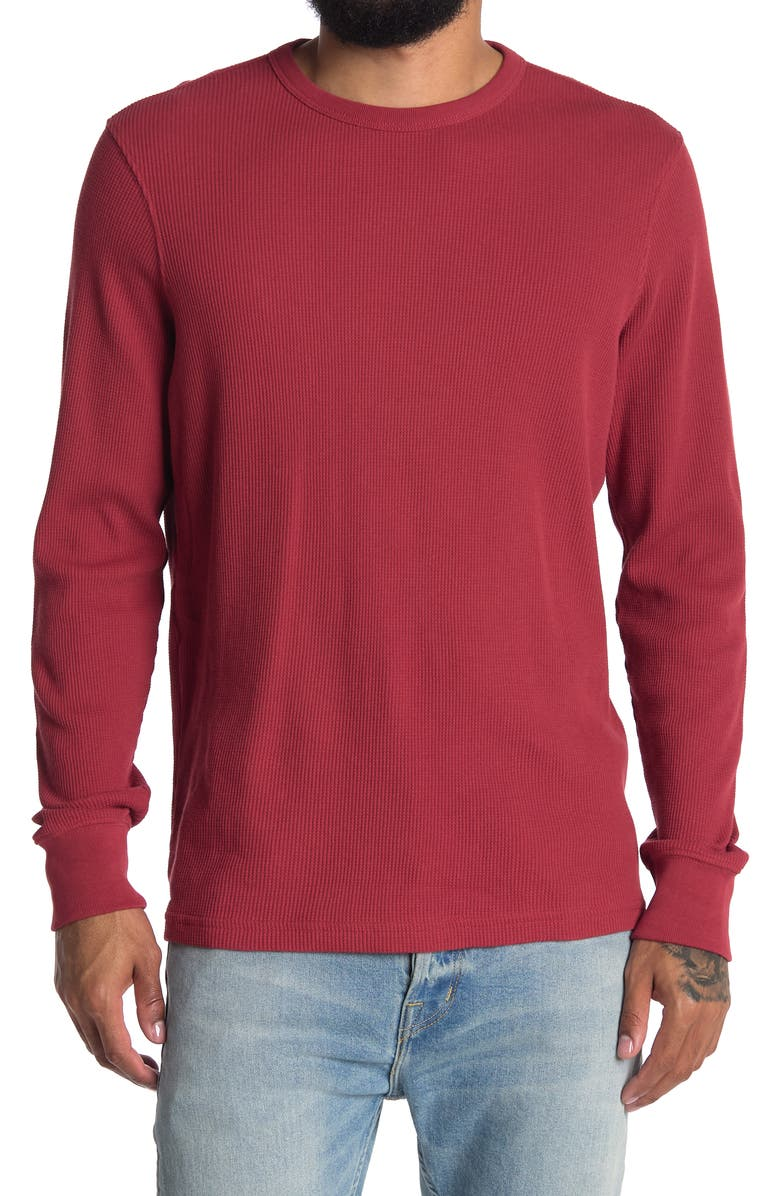 FAHERTY BRAND Essential Waffle Crew Neck T-Shirt, Main, color, BARN RED