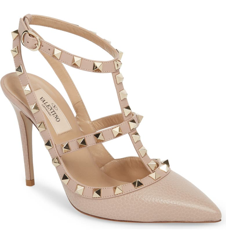 VALENTINO GARAVANI Rockstud T-Strap Pointed Toe Pump, Main, color, POUDRE LEATHER