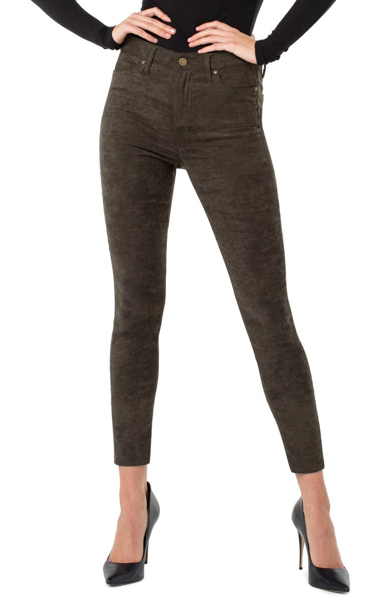LIVERPOOL Abby Faux Suede Stretch Skinny Jeans, Main, color, SLATE GREEN