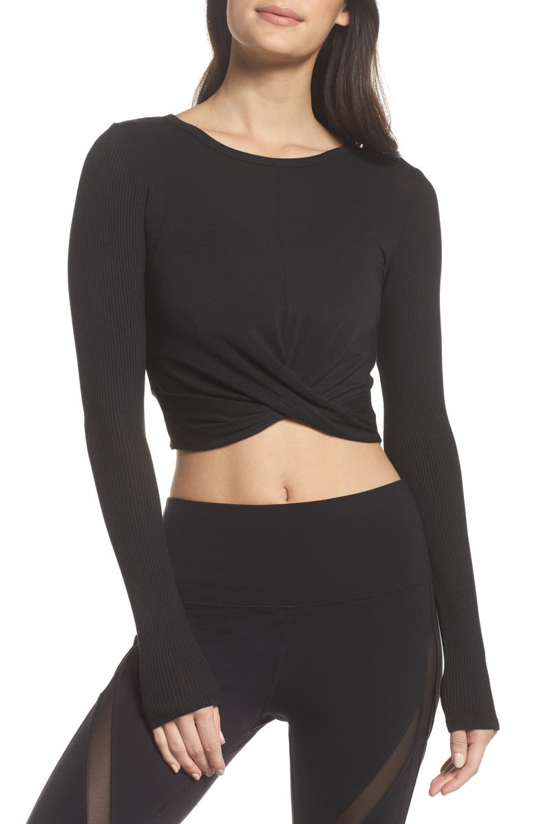 ALO Cover Long Sleeve Tee, Main, color, BLACK