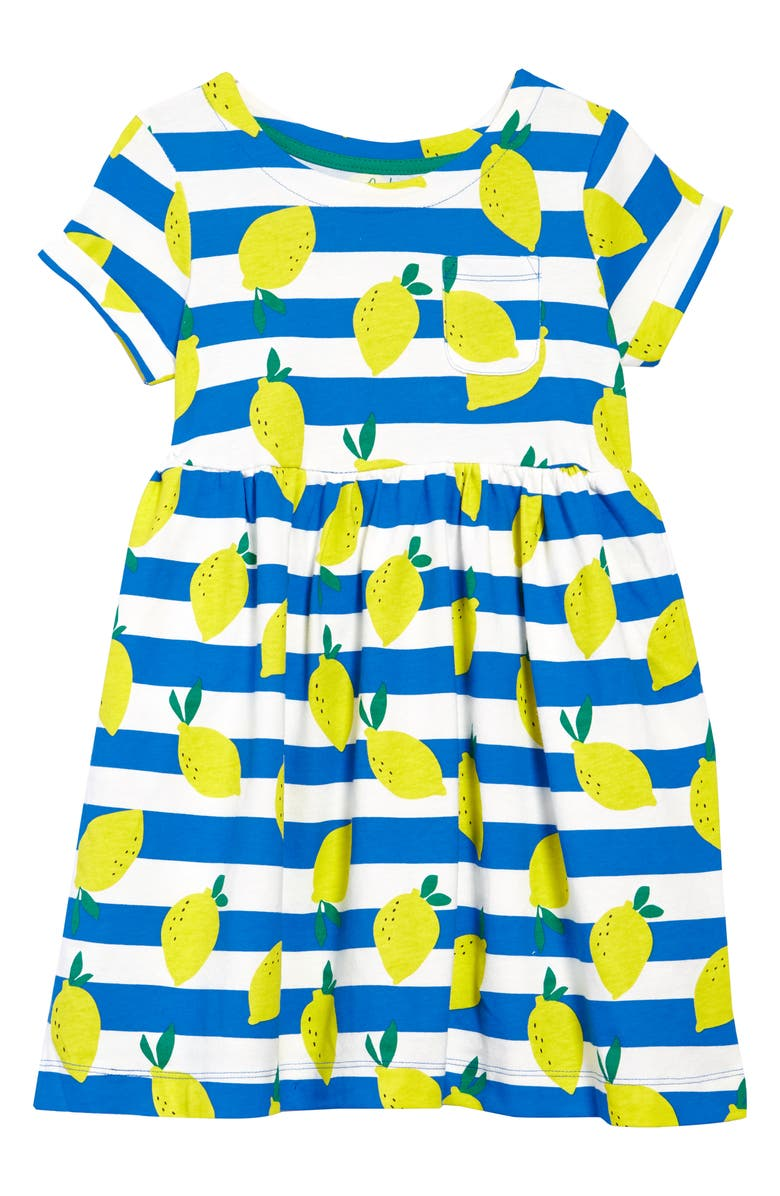 MINI BODEN Kids' Fun Jersey Dress, Main, color, IVORY/ MOROCCAN BLUE LEMONS