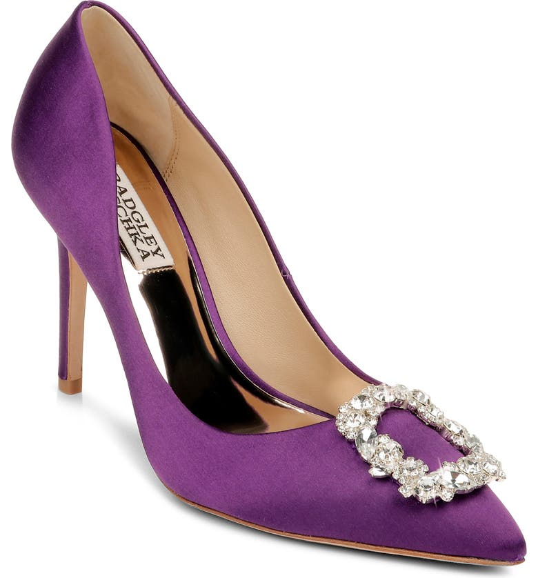 BADGLEY MISCHKA COLLECTION Badgley Mischka Cher Crystal Embellished Pump, Main, color, PURPLE SATIN