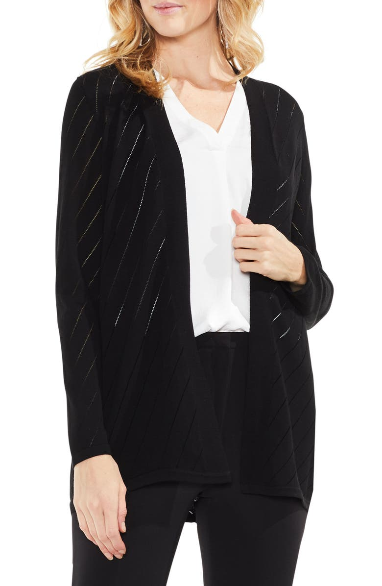 VINCE CAMUTO Open Front Pointelle Cardigan, Main, color, 006