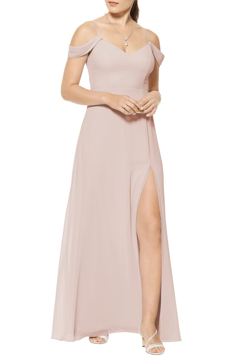 #LEVKOFF Cold Shoulder A-Line Chiffon Gown, Main, color, FROST ROSE