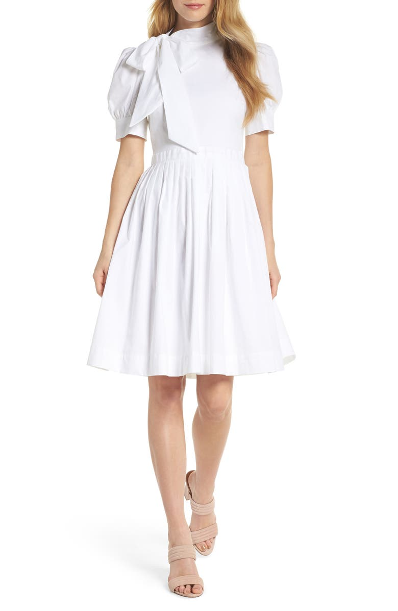 GAL MEETS GLAM COLLECTION Hanna Puff Sleeve Cotton Poplin Dress, Main, color, WHITE