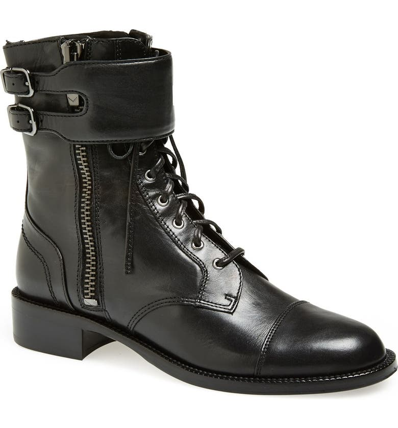 VIA SPIGA 'Bindu' Military Lace-Up Bootie, Main, color, 001