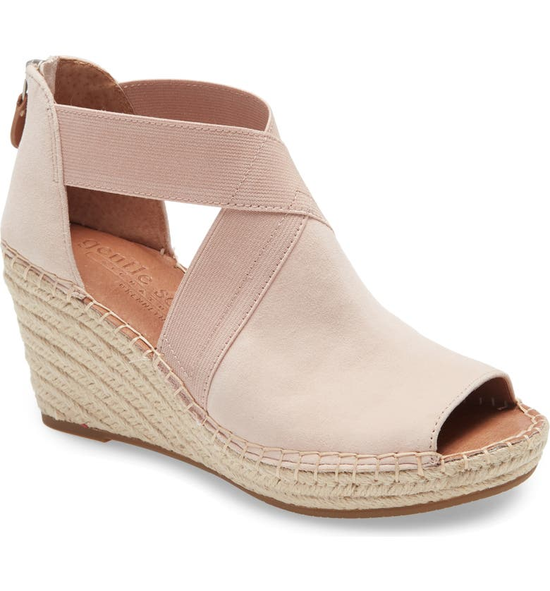 GENTLE SOULS SIGNATURE Colleen Wedge Sandal, Main, color, PINK SUEDE
