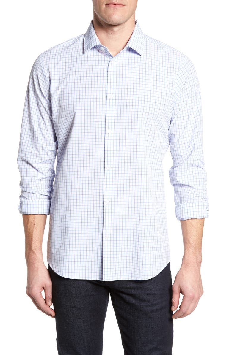 MIZZEN+MAIN Hallandale Dusty Lavender Check Sport Shirt, Main, color, 160