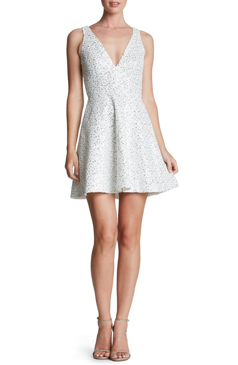DRESS THE POPULATION 'Carrie' Sequin Fit & Flare Minidress, Main, color, WHITE/ SILVER