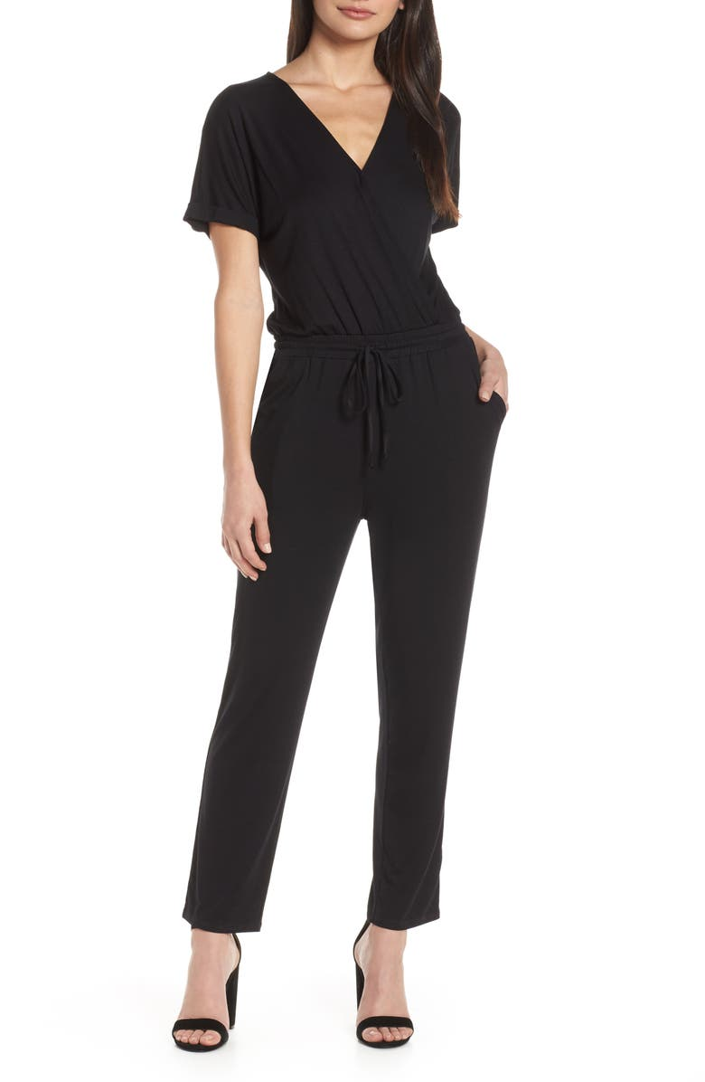 CHELSEA28 Faux Wrap Jumpsuit, Main, color, 001