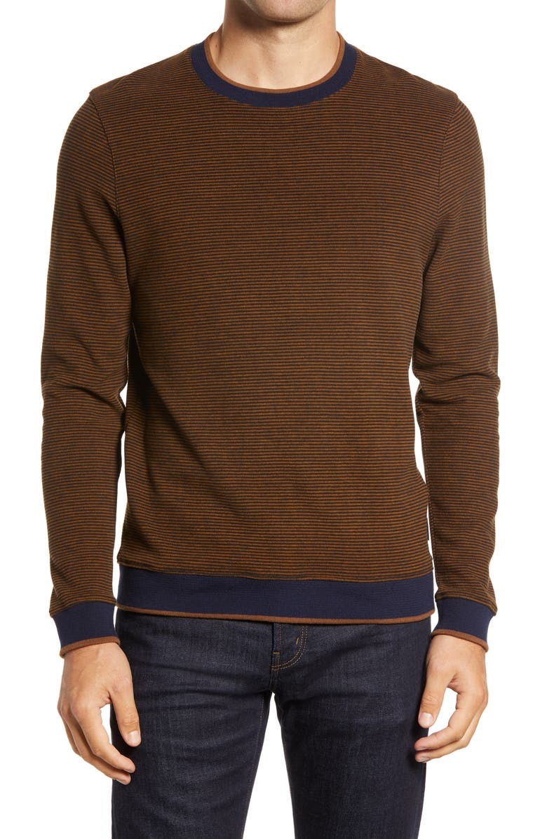 TED BAKER LONDON Filmed Stripe Pullover, Main, color, DARK TAN