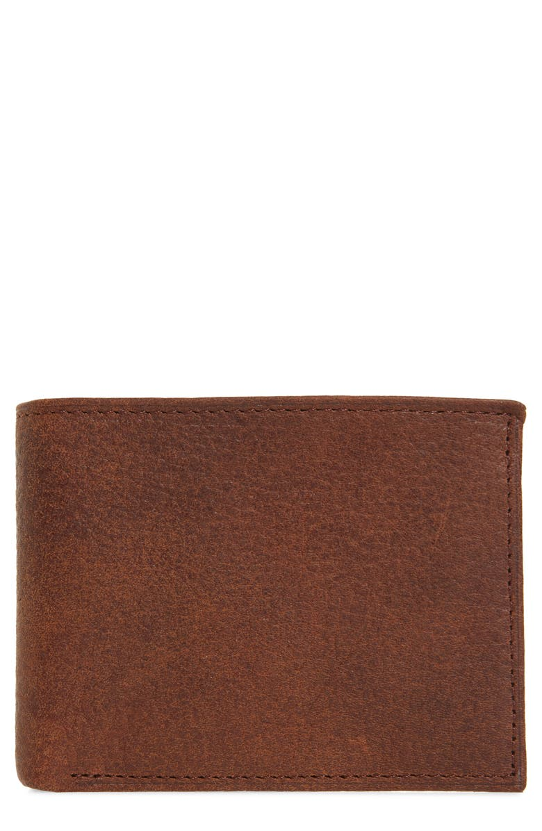 JOHNSTON & MURPHY Leather Flip Wallet, Main, color, WHISKEY MILLED LEATHER
