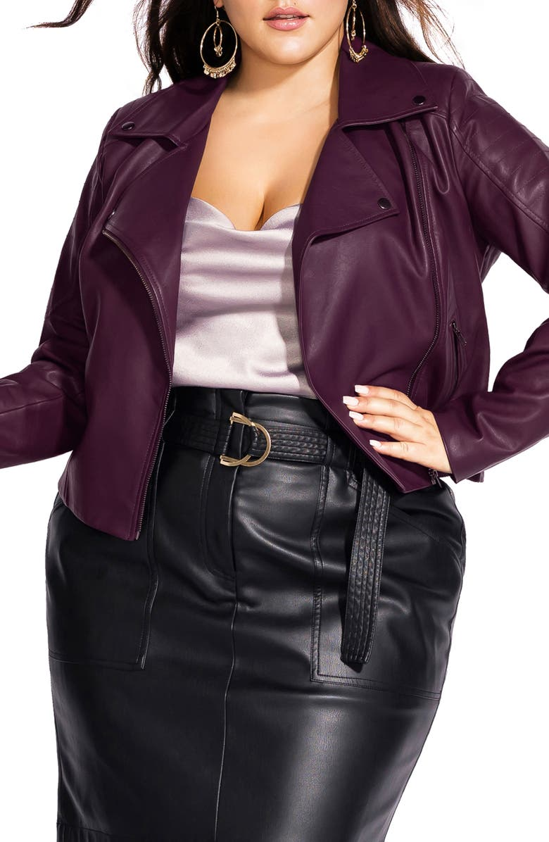 CITY CHIC Faux Leather Biker Jacket, Main, color, 936