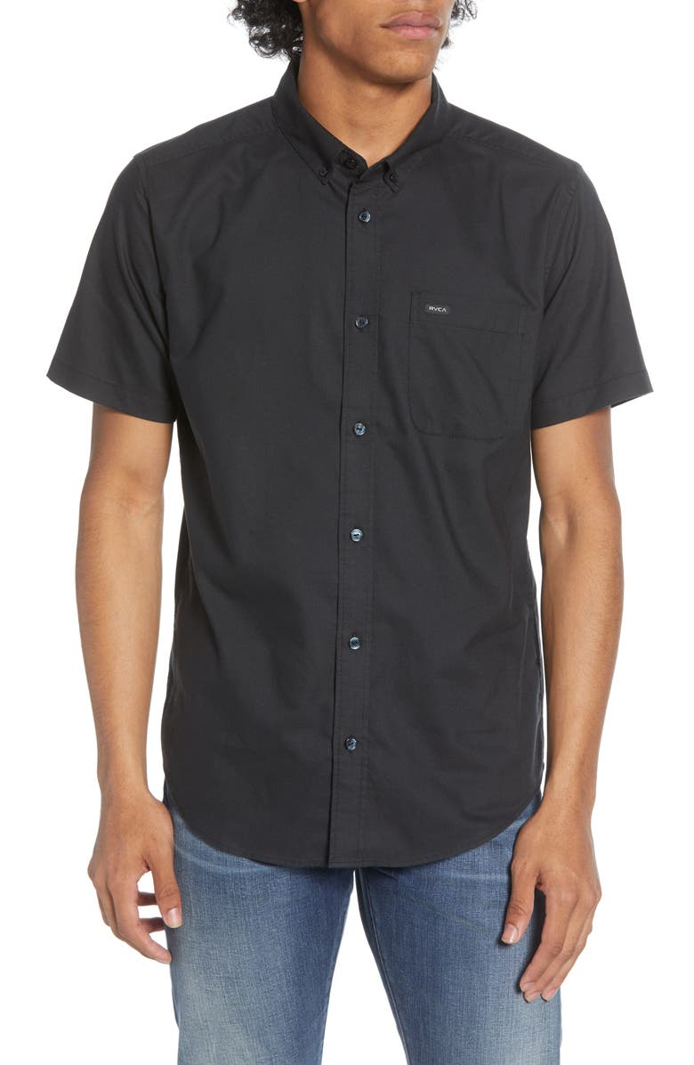 RVCA That'll Do Solid Short Sleeve Button-Down Shirt, Main, color, NO_COLOR