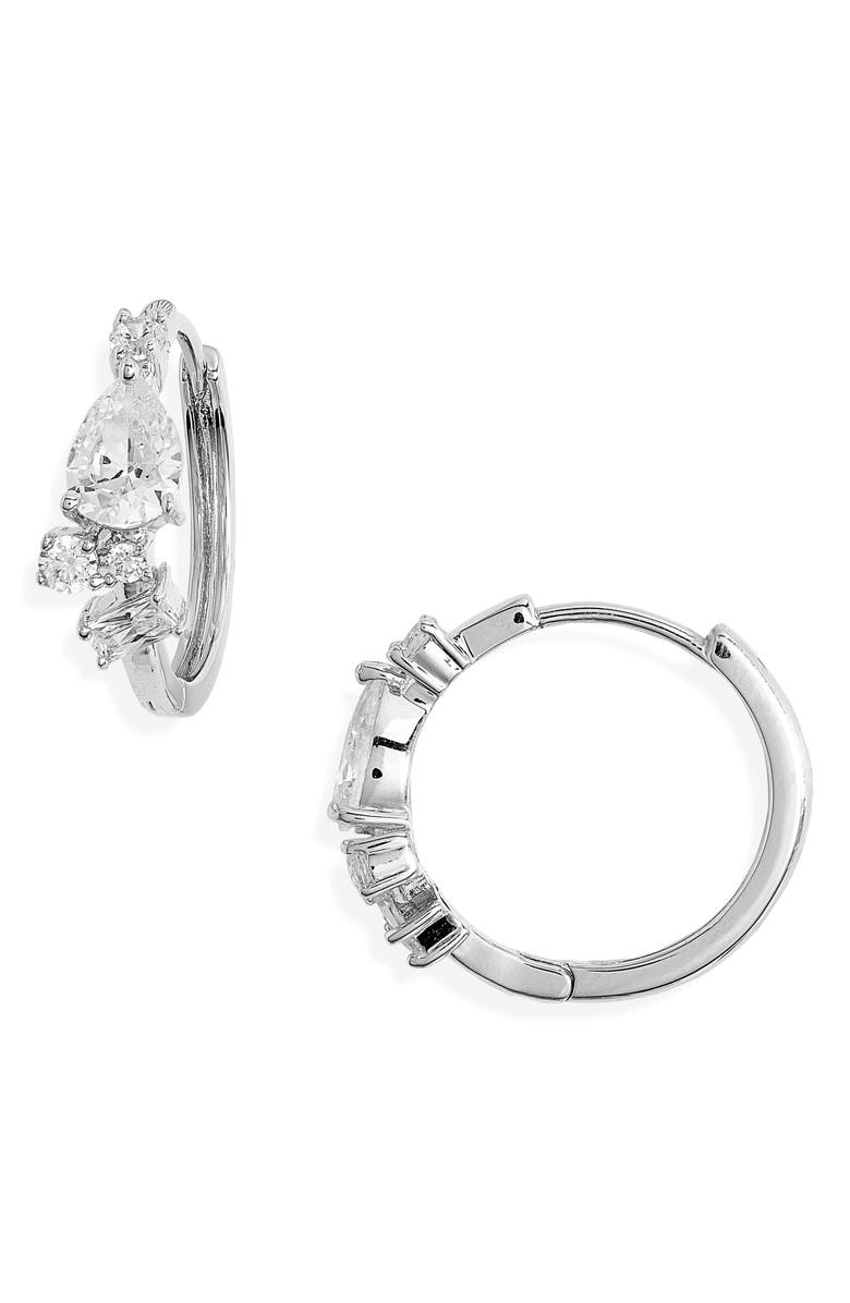 NORDSTROM Cluster Small Hoop Earrings, Main, color, CLEAR- SILVER