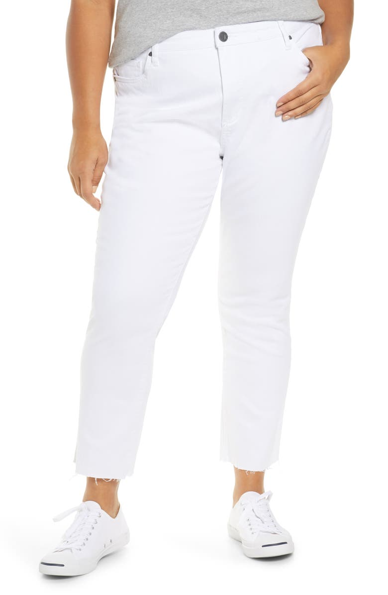 KUT FROM THE KLOTH Reese High Waist Fray Hem Ankle Jeans, Main, color, OPTIC WHITE