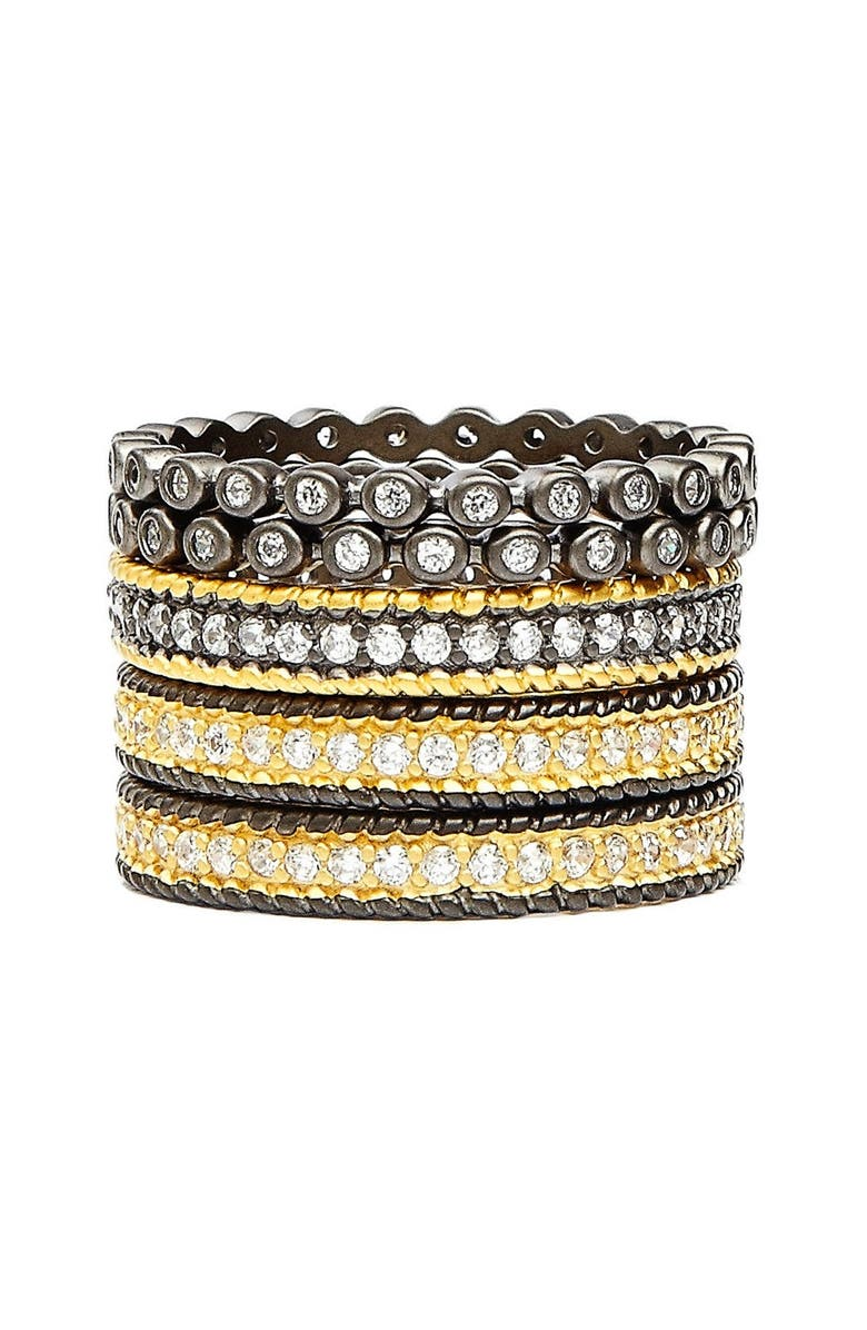 FREIDA ROTHMAN 'The Standards' Stackable Rings, Main, color, GUNMETAL/ GOLD