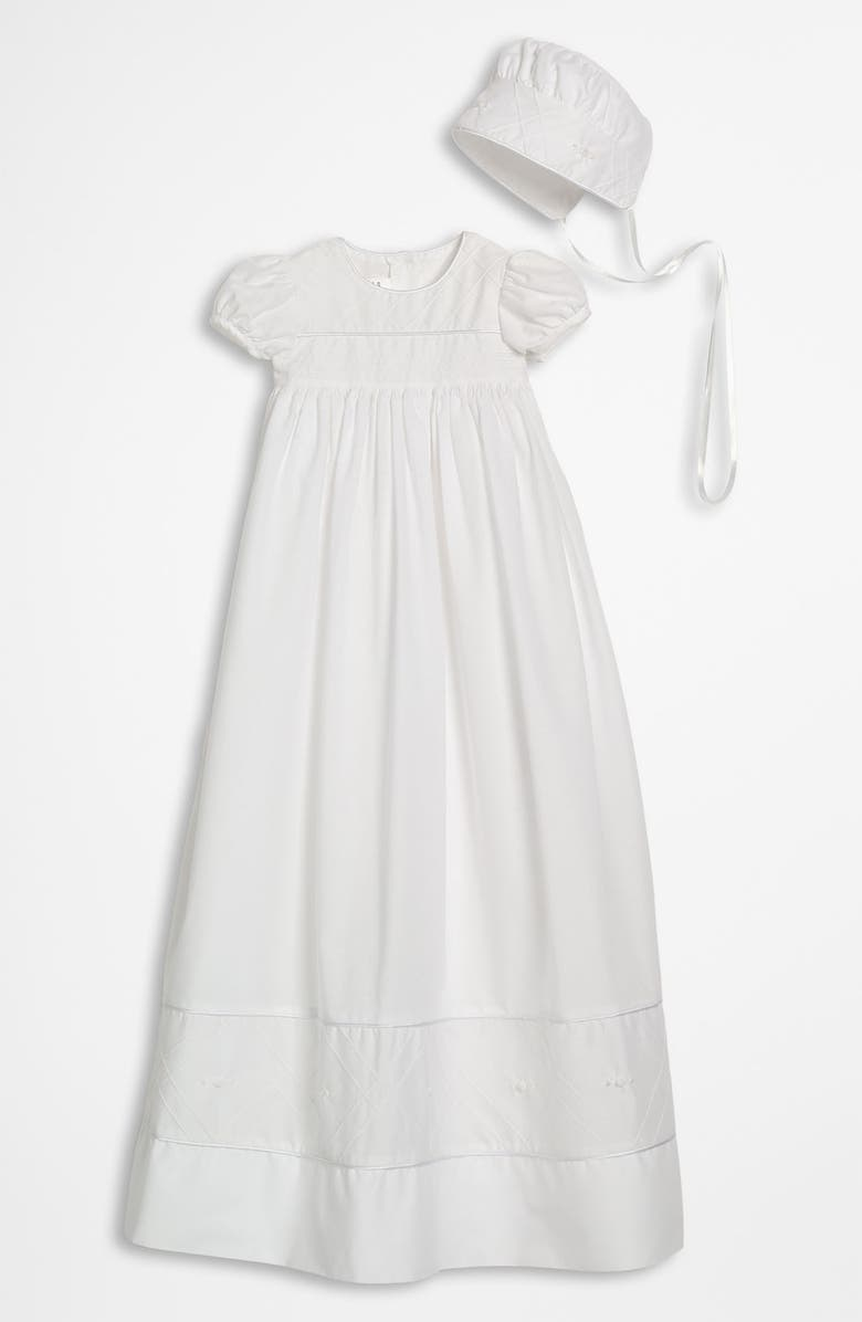 LITTLE THINGS MEAN A LOT Gown & Bonnet, Main, color, WHITE