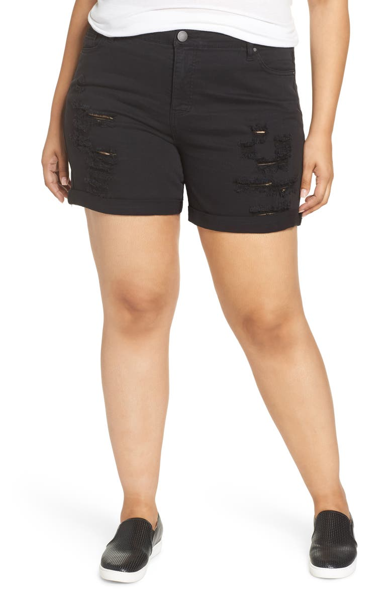 FOURTEENTH PLACE Tinsel Ripped Bermuda Shorts, Main, color, BLACK