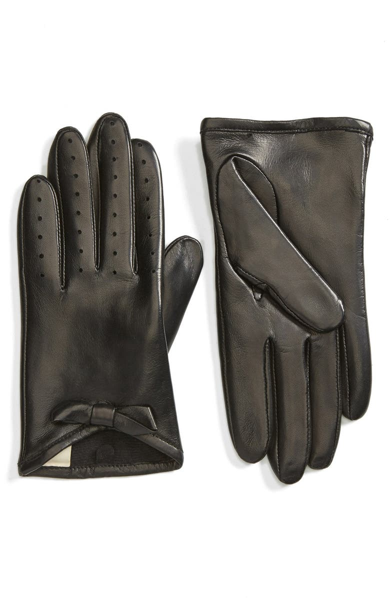 FOWNES BROTHERS Bow Short Leather Gloves, Main, color, 001