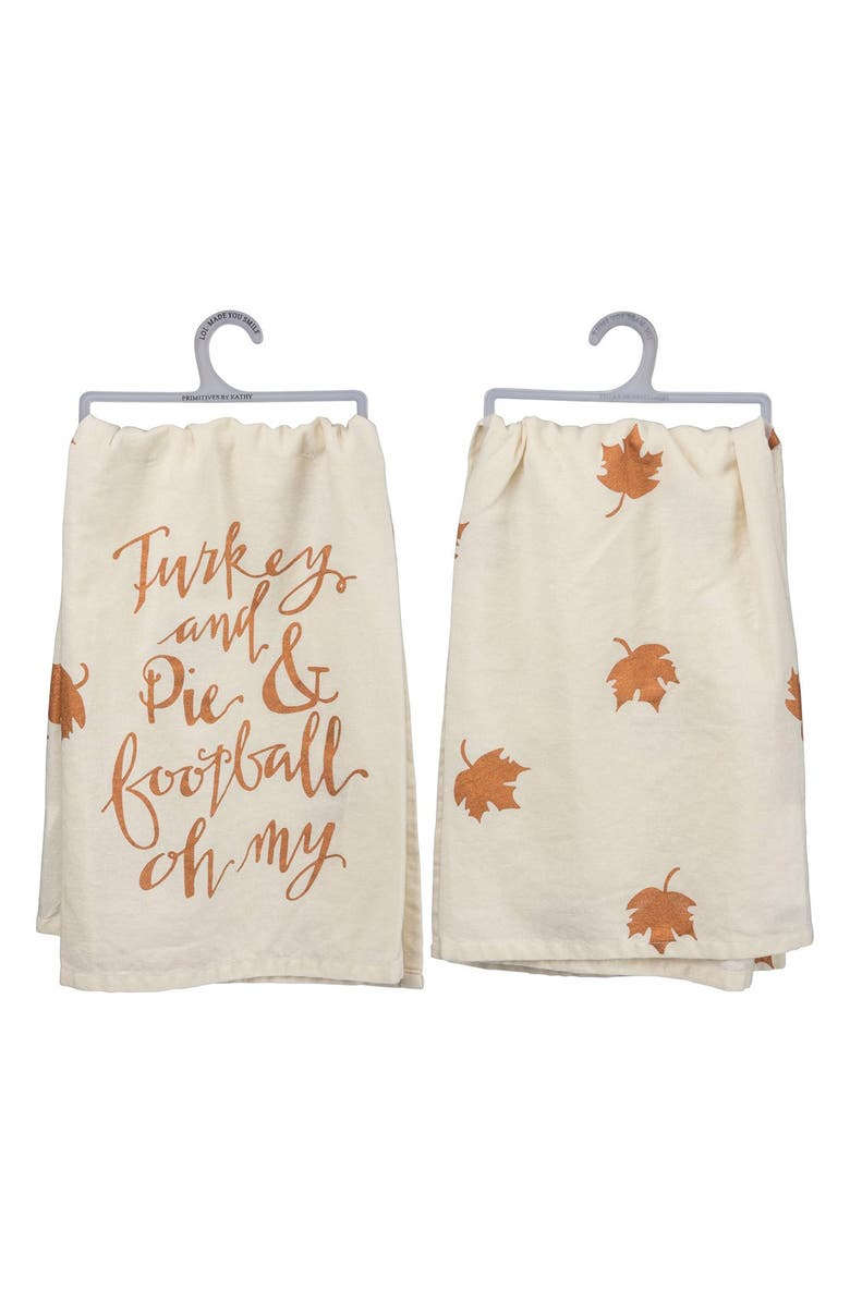 PRIMITIVES BY KATHY 'Turkey and Pie and Football Oh My' Dish Towel, Main, color, 900
