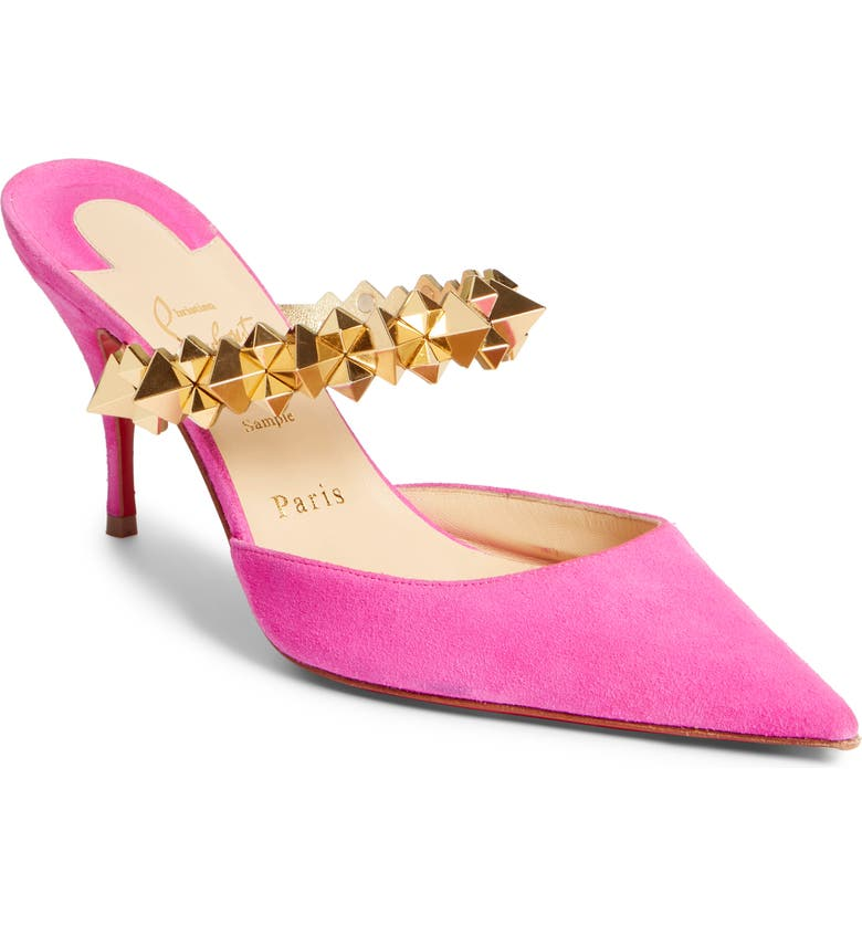 CHRISTIAN LOUBOUTIN Planet Choc Embellished Mule, Main, color, 676