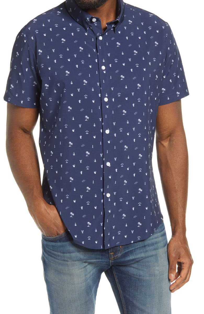 MIZZEN+MAIN Mizzen + Main Leeward Trim Fit Short Sleeve Button-Up Performance Shirt, Main, color, NAVY WHITE BEACH PRINT