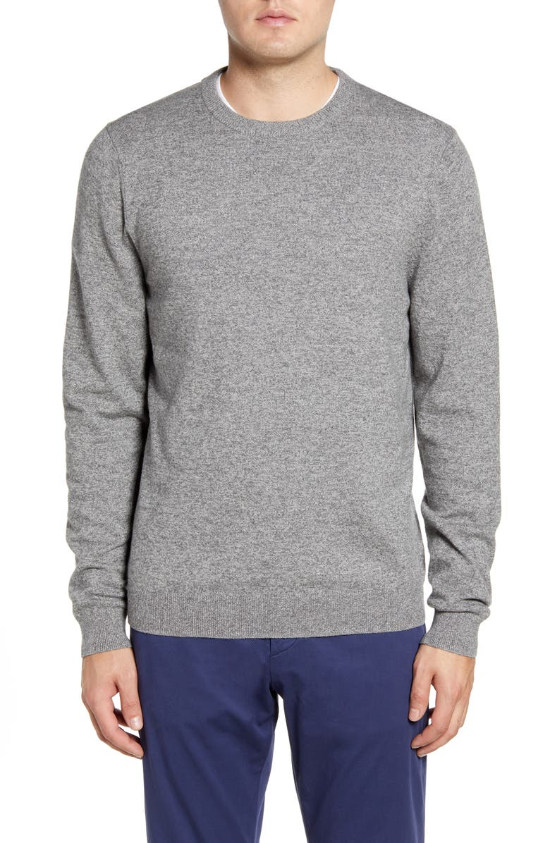 NORDSTROM Cotton & Cashmere Crewneck Sweater, Main, color, GREY SHADE MARL
