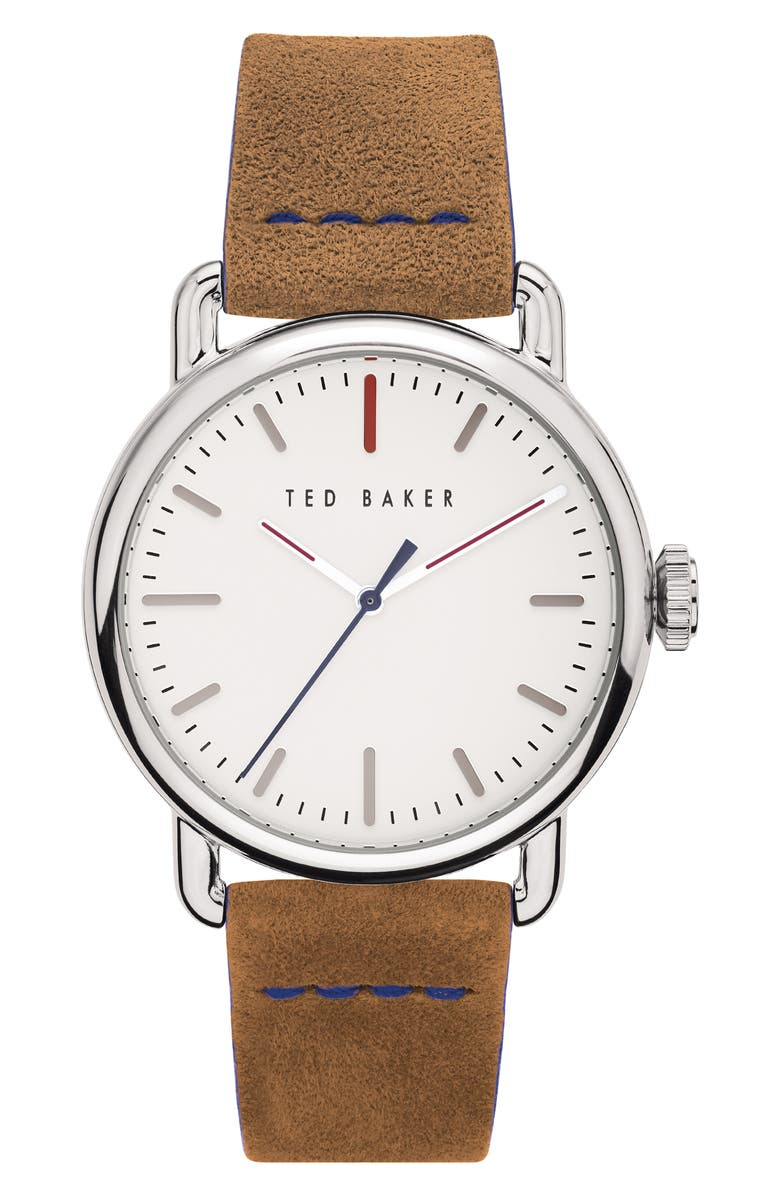 TED BAKER LONDON Tomcooa Leather Strap Watch, 40mm, Main, color, TAN/ WHITE/ SILVER