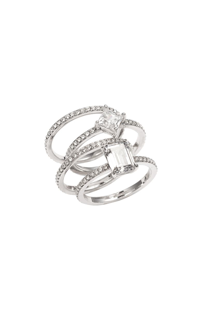 NORDSTROM Cubic Zirconia Set of 4 Stacking Rings, Main, color, 040