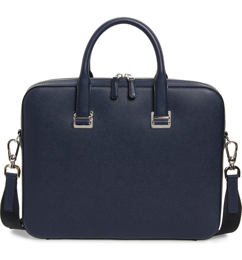 DUNHILL Cadogan Leather Single Document Case, Main, color, NAVY